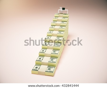 Financial growth concept with workplace on top of dollar banknote ladder on pinkish background. 3D Rendering - stock photo