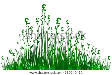 Financial Growth. Fresh grass and pounds isolated on White background.  illustration  - stock photo