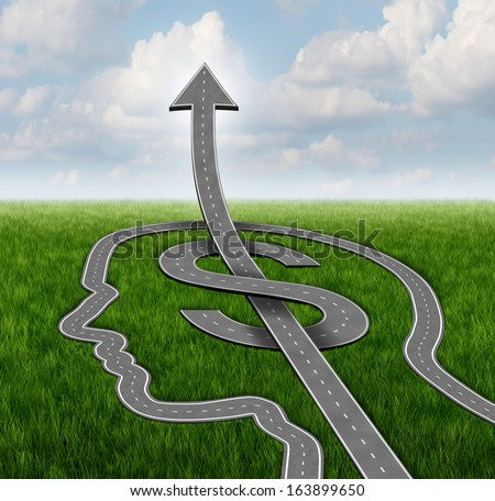 Financial growth path business concept as a group of roads or streets shaped as a human head and a dollar symbol with an arrow pointing up  as a metaphor for investing strategy and planning success.