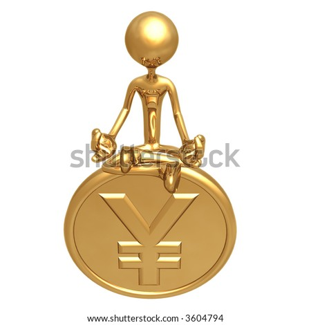 Financial Guru Gold Yen Coin - stock photo