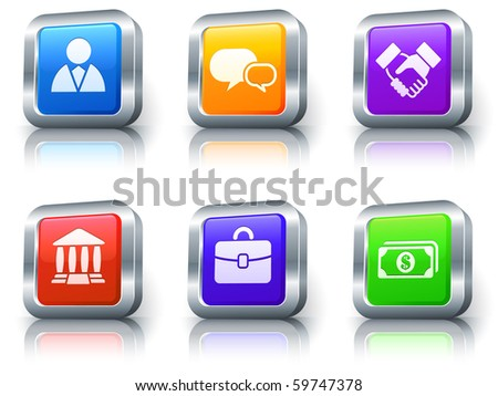 Financial Icons on Square Button with Metallic Rim Collection Original Illustration - stock photo