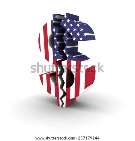 Financial Insecurity Symbol - Cracked US Flag Dollar Symbol - stock photo