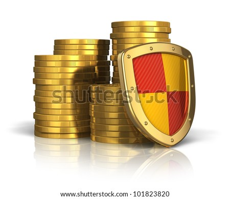 Financial insurance and business stability concept: stacks of golden coins covered by protection shield isolated on white background with reflection effect