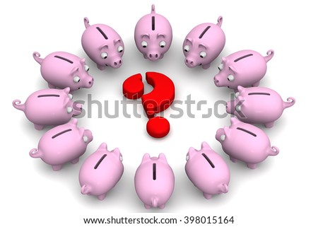 Financial issue. Pink piggy banks located around the red question mark. Financial concept. 3D illustration. Isolated - stock photo
