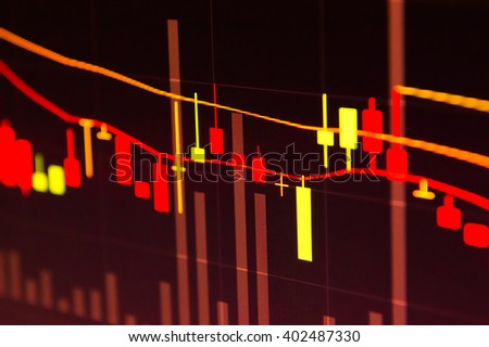 Financial market graphics red background. - stock photo