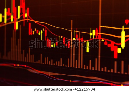 Financial market graphics red background.