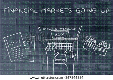 financial markets going up: computer user buying stocks online - stock photo