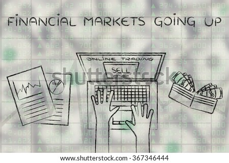 financial markets going up: computer user with wallet and stats on stock market data - stock photo