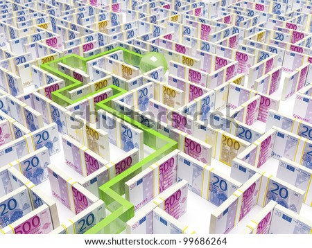 Financial Maze Labyrinth whith path - stock photo