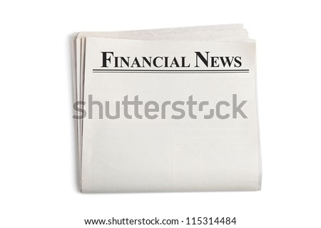 Financial News, Blank Newspaper with white background - stock photo