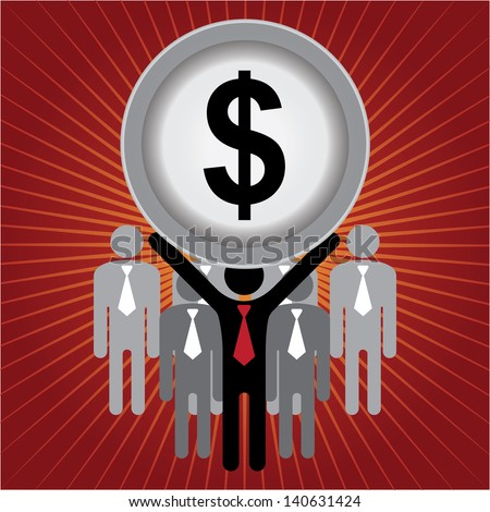 Financial Operation, MLM, Money Working, Job Career or Job Opportunity Concept Present by Group of Businessman With Dollar Sign on Hand in Red Shiny Background - stock photo