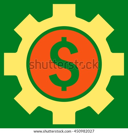 Financial Options glyph icon. Style is bicolor flat symbol, orange and yellow colors, green background.