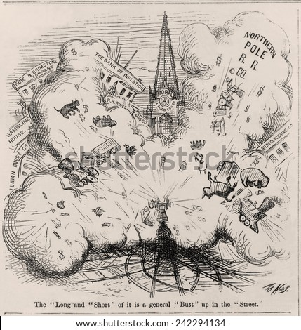 Financial Panic of 1873. Thomas Nast cartoon showing an explosion blowing up Northern Pole R.R. Co., the Bank of Inflation, Fire and Brimstone Company, etc. - stock photo