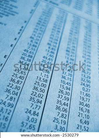 financial part of newspaper shows stock numbers