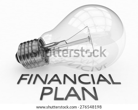 Financial Plan - lightbulb on white background with text under it. 3d render illustration. - stock photo