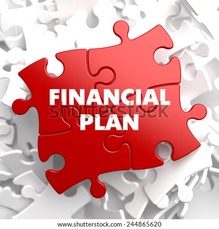 Financial Plan on Red Puzzle on White Background. - stock photo