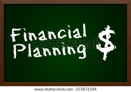 Financial Planning Chalkboard Concept - stock photo