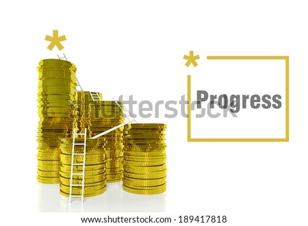 Financial progress concept, ladders on gold coins - stock photo