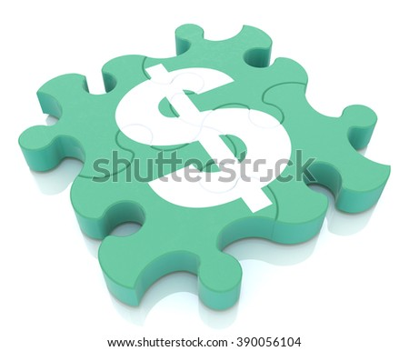 Financial puzzle when creating a design to information related to the economy and money - stock photo