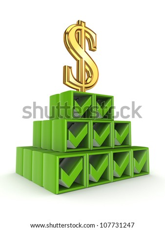 Financial pyramid concept.Isolated on white background.3d rendered.
