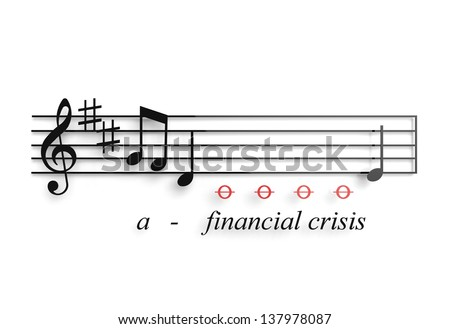 Financial recession illustrated as a musical notes metaphor