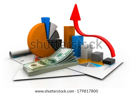 financial report and graph - stock photo