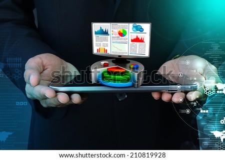 Financial report & statistics on computer - stock photo