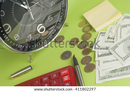 financial report. time is money and wealth. concept of time and money. Copy space for text.