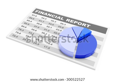 Financial report with pie chart, 3d render