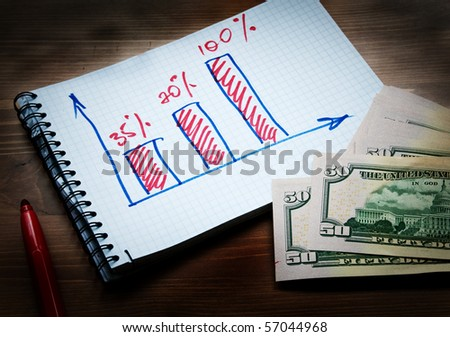 Financial schedule and dollars - stock photo
