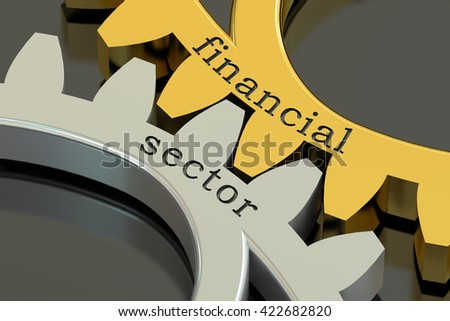 financial sector concept on the gearwheels, 3D rendering - stock photo