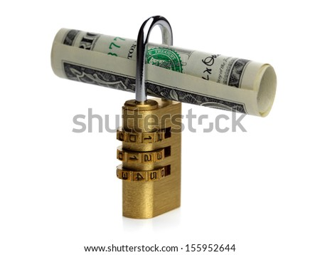 Financial security concept dollar bill with padlock - stock photo