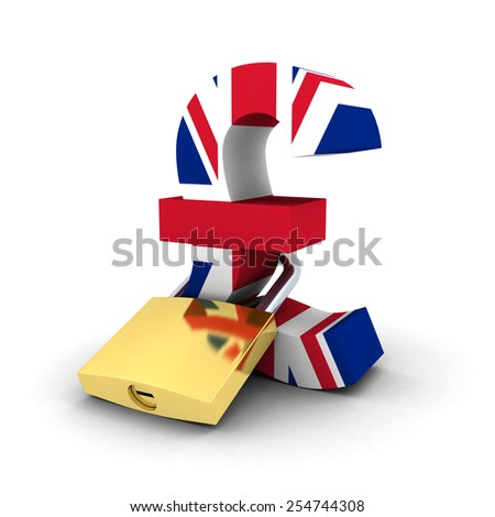 Financial Security Concept - Padlocked Pound Symbol - stock photo