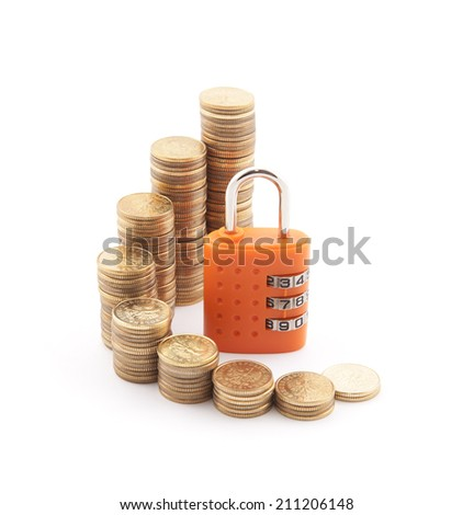 Financial security. Golden coins with orange padlock. - stock photo