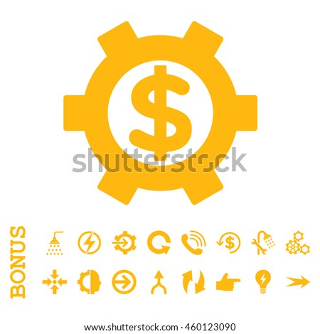 Financial Settings glyph icon. Image style is a flat pictogram symbol, yellow color, white background. - stock photo