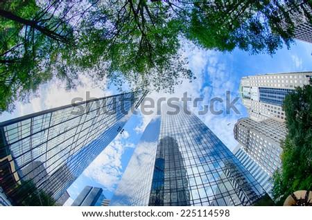 Financial skyscraper buildings in Charlotte North Carolina USA - stock photo