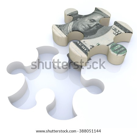 Financial solutions puzzle in the design of information related to economics and finance - stock photo