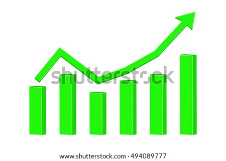 Financial statistic indication arrow. Up rising trend. Green. 3d illustration isolated on white background. Raster version