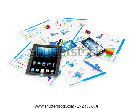 Financial Statistics Concept. Tablet PC, Touchscreen Smartphone and Financial Reports isolated on white background