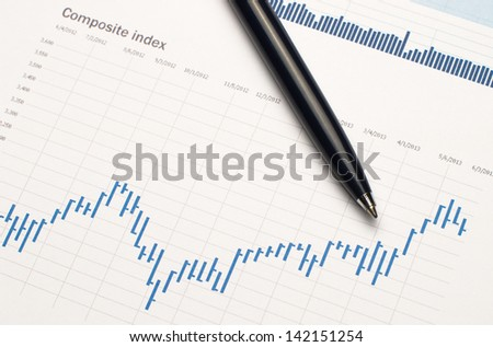 Financial statistics graph close-up - stock photo