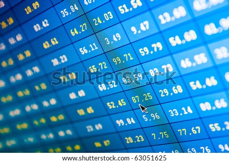 financial stats on computer screen - stock photo