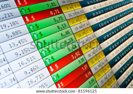 financial stats on computer screen. - stock photo