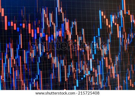 Financial stock data red and blue chart,graphs on a monitor. Abstract colorful charts and graphs combined on monitor screen. Trading software data analysis. Chart on computer monitor, market climbing - stock photo