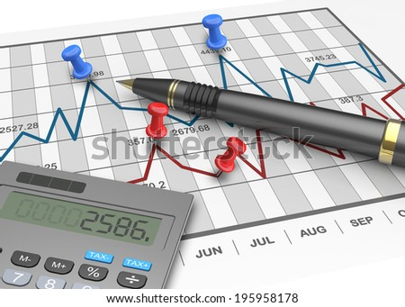 Financial stock market chart analysis - stock photo
