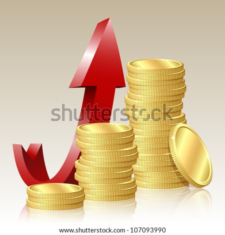Financial success concept - Business graph with coins. - stock photo