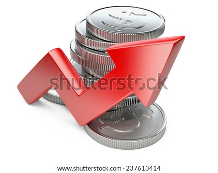 Financial success concept. Red arrow and coins growth chart isolated on white background