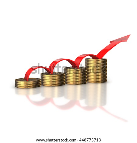 Financial success concept. Red arrow up and bar chart diagram of golden dollar coins isolated on white background.3d render.
