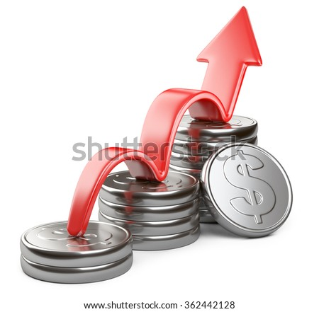 Financial success concept. Red arrow up and bar chart diagram of silver dollar coins isolated on white background