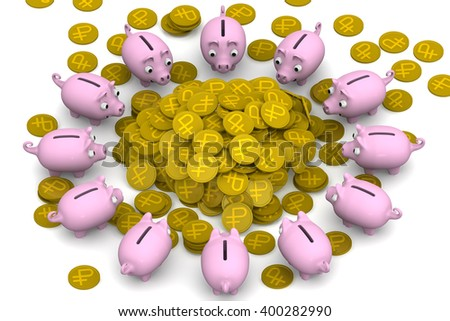 Financial success. Pink piggy banks surrounded the pile of gold coins with the symbol of the Russian ruble. Financial concept. 3D Illustration. Isolated - stock photo