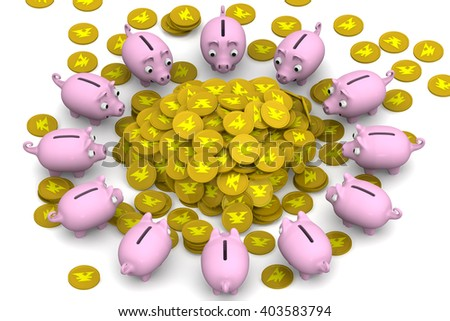 Financial success. Pink piggy banks surrounded the pile of gold coins with the symbol of the Japanese currency. Financial concept. 3D Illustration. Isolated - stock photo